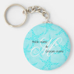 Custom Wedding Monogram Turquoise Starfish Basic Round Button Key Ring