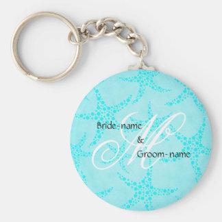 Custom Wedding Monogram Turquoise Starfish Basic Round Button Key Ring