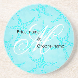 Custom Wedding Monogram Turquoise Starfish Beverage Coaster