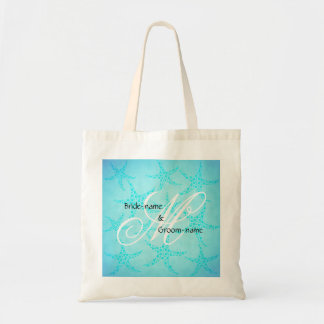 Custom Wedding Monogram Turquoise Starfish Tote Bag