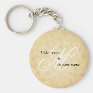 Custom Wedding Monogram Vintage Style Basic Round Button Key Ring