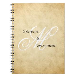 Custom Wedding Monogram Vintage Style Note Book