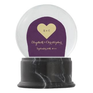 Custom Wedding Newlywed Monogram Heart Anniversary Snow Globe