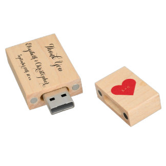 Custom Wedding Party Favor Name Date Thank You USB Wood USB 2.0 Flash Drive