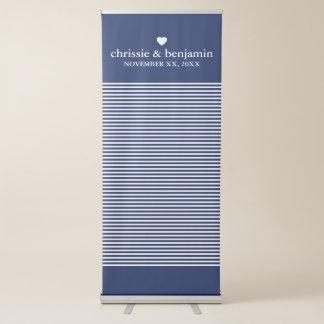 Custom Wedding Photo Backdrop Bride Groom Stripes Retractable Banner