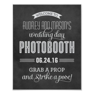 Custom Wedding Photo Booth Sign | Black Chalkboard Poster