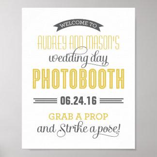 Custom Wedding Photo Booth Sign   Yellow Gray Poster