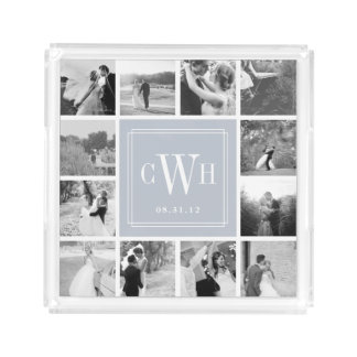 Custom Wedding Photo & Monogram Acrylic Tray