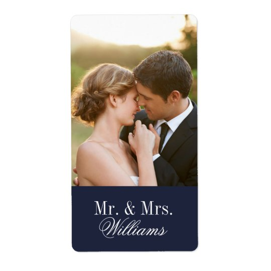 Custom Wedding Photo Monogram Shipping Label