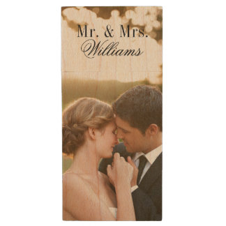 Custom Wedding Photo Monogram USB Flash Drive