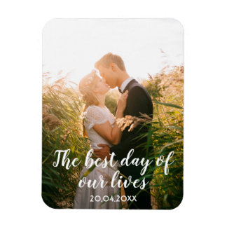 Custom wedding photo with text date white letters magnet