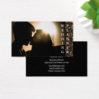 Custom Wedding Planner | Black Gold Glitter Business Card