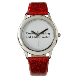 Custom Wedding  Red Glitter Watch
