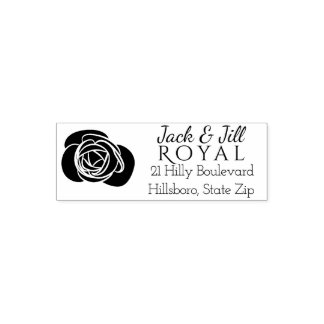 Custom Wedding Return Address | Elegant Rose Self-inking Stamp