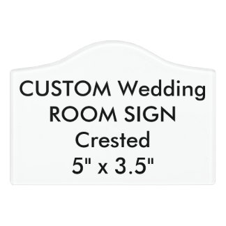 "Custom Wedding Room Sign Plaque Crested 5"" x 3.5"""
