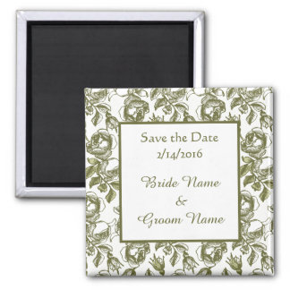Custom Wedding Save the Date Golden Roses Magnet