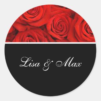 Custom Wedding Sticker Red Roses