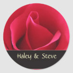 Custom wedding stickers with red rose