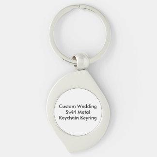 Custom Wedding  Swirl Metal Keychain Keyring Key Chains