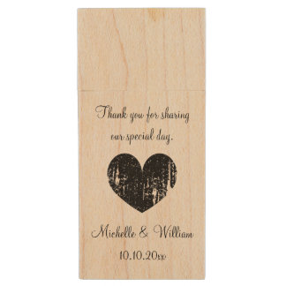 Custom wedding thank you favor USB flash drive Wood USB 2.0 Flash Drive