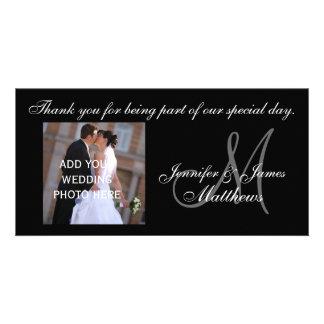 Custom Wedding Thank You Monogram Photo Card