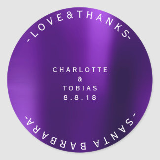 Custom Wedding Thanks Minimal Purple Plum Round Sticker