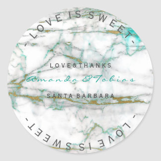 Custom Wedding Thanks Mint Gold White Marble Round Sticker
