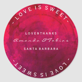 Custom Wedding Thanks Pink Red Tropical Candy Round Sticker