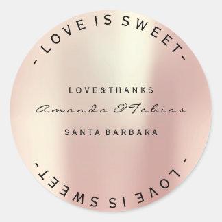 Custom Wedding Thanks Pink Rose Gold Silk Metallic Round Sticker