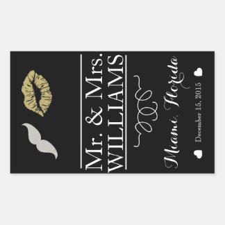 custom Wedding wine bottle label table centre lips Rectangular Sticker