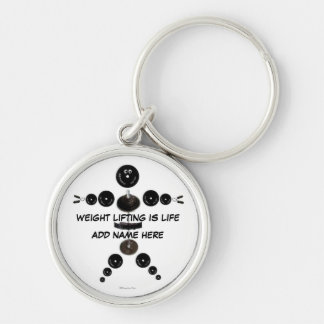 Custom Weight Lifting Fun Silver-Colored Round Key Ring