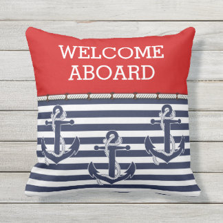 Custom Welcome Aboard Anchors Stripes Pattern Cushion