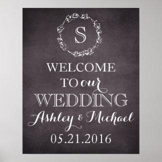 Custom Welcome bride groom name date wedding sign
