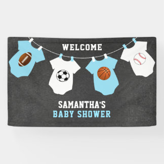 Custom Welcome Sports Theme BOY Baby Shower Banner