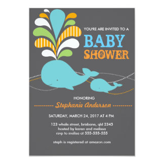 Custom whale baby shower invitation