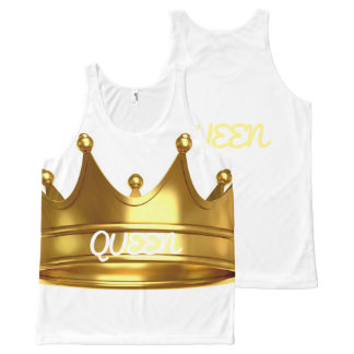 Custom Whit/Gold Crown Tank All-Over Print Tank Top