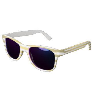 Custom White And Gold Sunglasses Midnight Mirror
