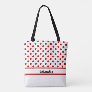 Custom White and Red Polka Dots White Base Tote Bag