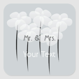 Custom White Anemone Wedding Stickers