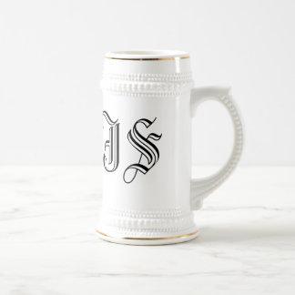 Custom White Beer Stein Calligraphy Initials Beer Steins