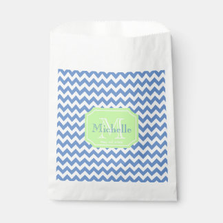 Custom white chevron and monogram favour bag