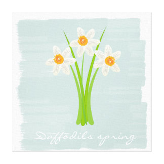 Custom White Daffodils Spring Canvas Print