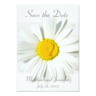 "Custom White Daisy Save the Date Announcement 5"" X 7"" Invitation Card"