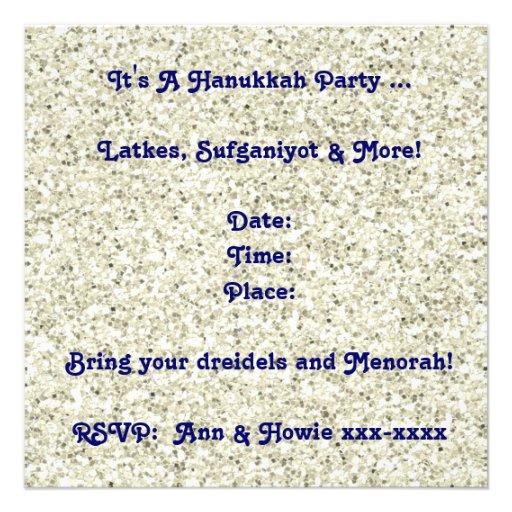 Custom White Glitter Hanukkah Party Invitation