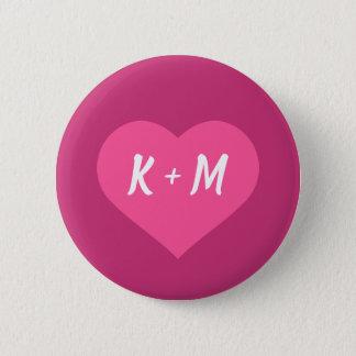 Custom White Initials in Pink Heart w/ Pink BG 6 Cm Round Badge