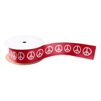 Custom White Peace Symbol Satin Ribbon