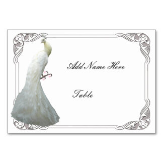 Custom White Peacock Wedding Table Place Card