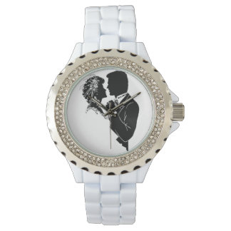 custom, white, rhinestones, watch