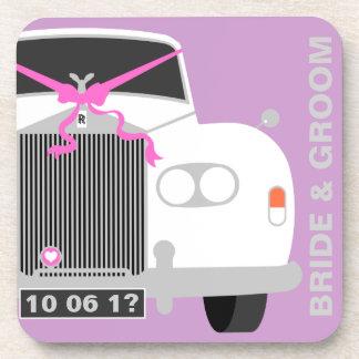 Custom white Wedding Car / Limo gift Coaster