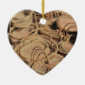 Custom Wicker Basket Gifts Ceramic Heart Decoration
